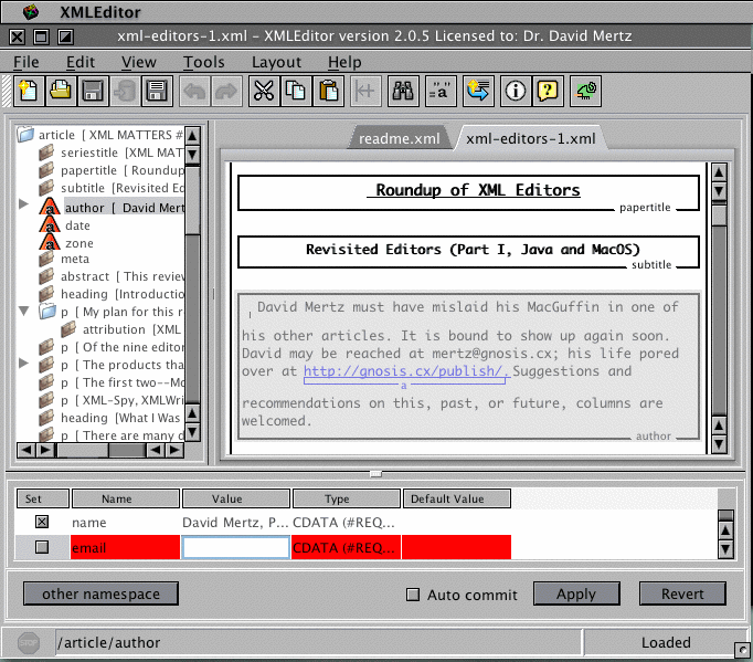 Screenshot of the Morphon XML editor
