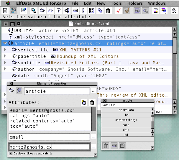 Screenshot of ElfData's XML Editor